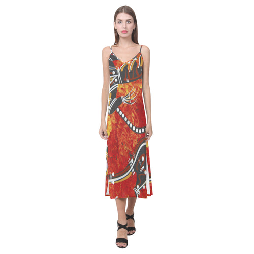 Indigenous V-Neck Open Fork Long Dress