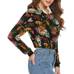 Floral Skull Women's All Over Print Cropped Hoodie