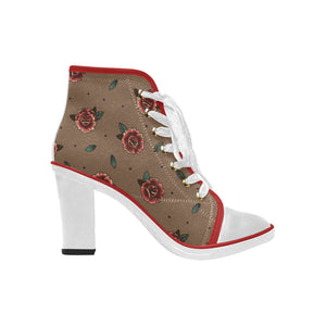 Women's Canvas Lace Up Chunky Heel Ankle Boots