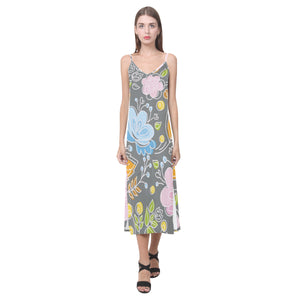 Floral Beauty V-Neck Open Fork Long Dress