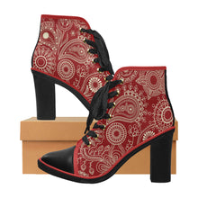 Red and Black High Heel Chunky Boots