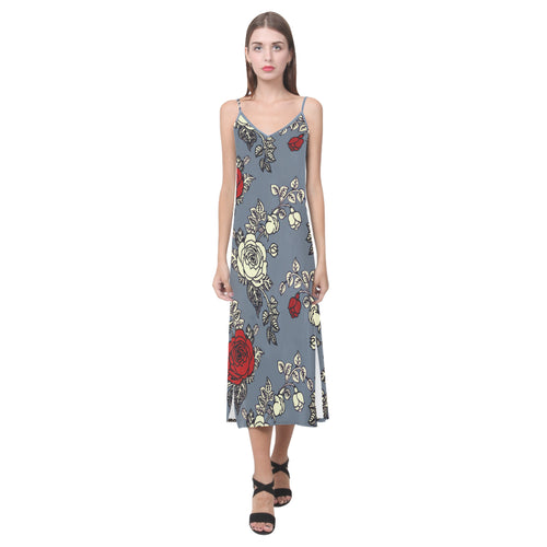 Maple Rose V-Neck Open Fork Long Dress