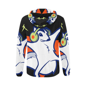 womens all-over printed zipper hoodie
