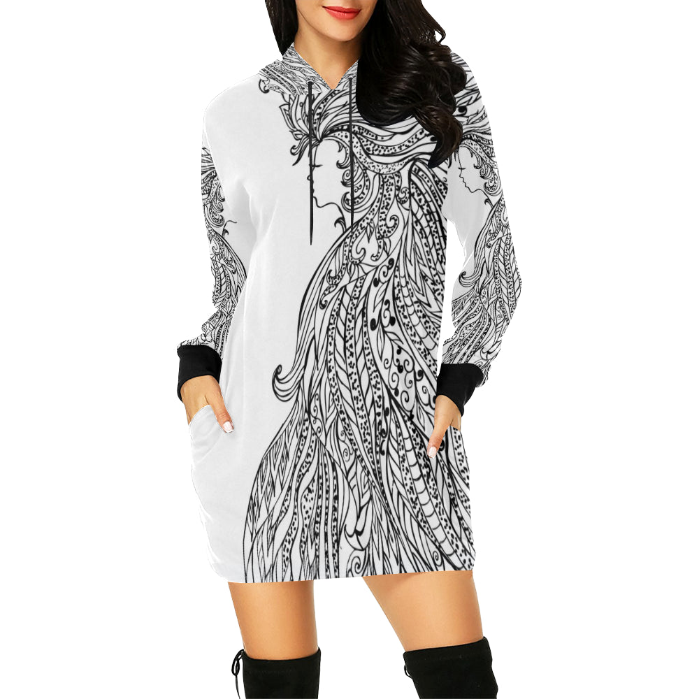 Hair Girl Women's All Over Print Hoodie Mini Dress