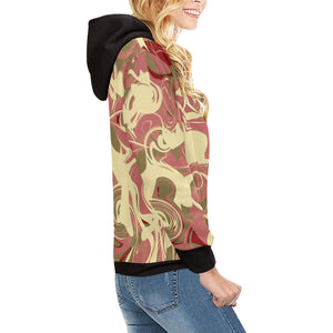 Waves of love Women's All Over Print Turtleneck Pullover Hoodie