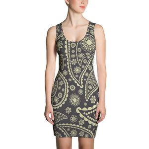 Gold Paisley Womens Fitted Summer Dress