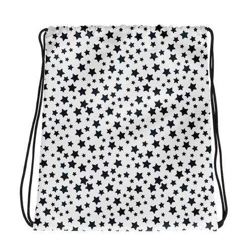 Black Stars Drawstring Bag