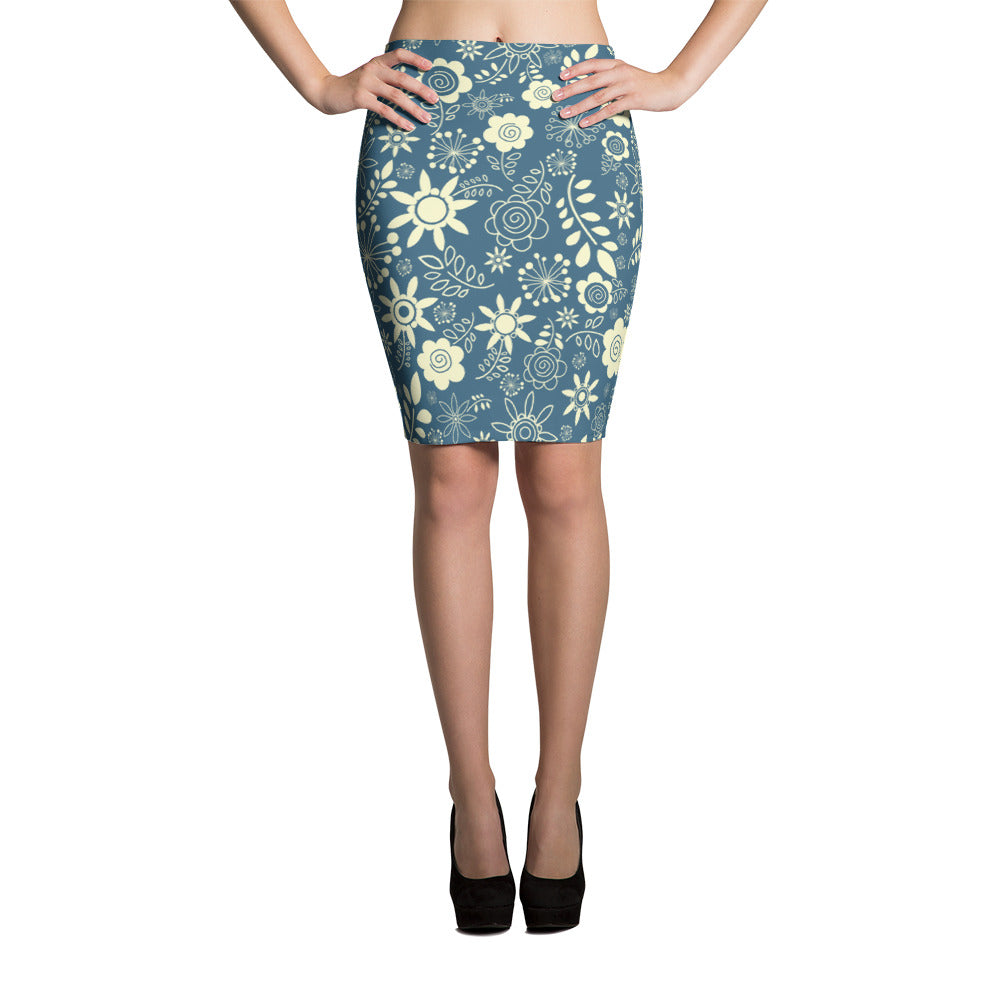 Winter Floral Pencil Skirt