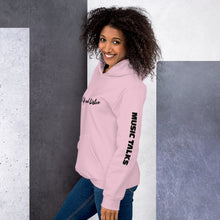 Unisex Music Talks Hoodie Shut Up and Listen in Pink