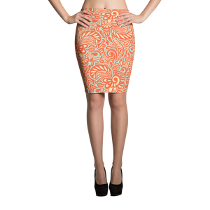 Orange Swirl Pencil Skirt