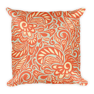 Paisley Orange Square Throw Pillow