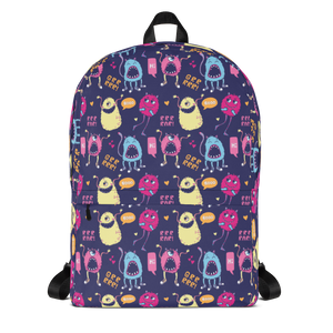 Monsters All Over Designer Backpack Bag