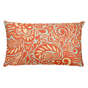 Paisley Orange Rectangular Throw Pillow