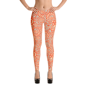 Orange Flower Swirl Leggings