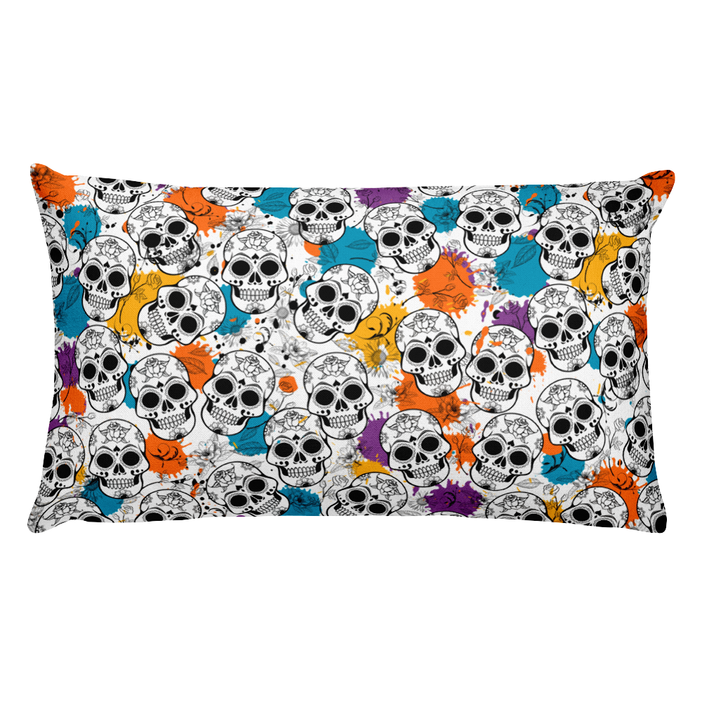 Pretty Skull Rectangular Throw Pillow