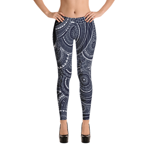 Blue Leaf Swirl Leggings