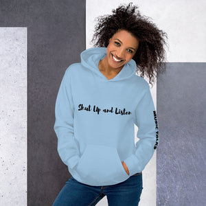 Unisex Music Talks Hoodie Shut Up and Listen in Blue