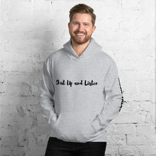 Unisex Music Talks Hoodie Shut Up and Listen in Grey