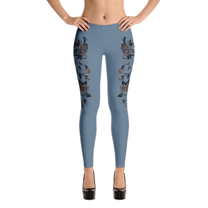 Rose Queen Leggings (dusty blue)