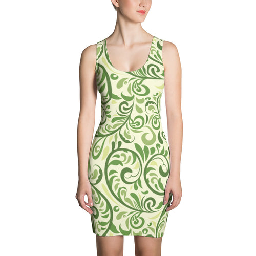 Green Delight Womens Fitted Summer Dress