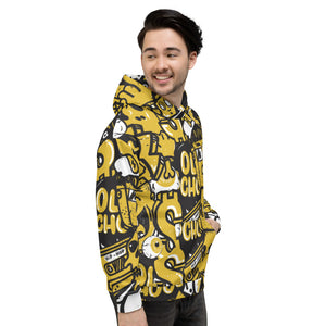 Old School Black and Yellow Music Graffiti All Over Printed Unisex Hoodie