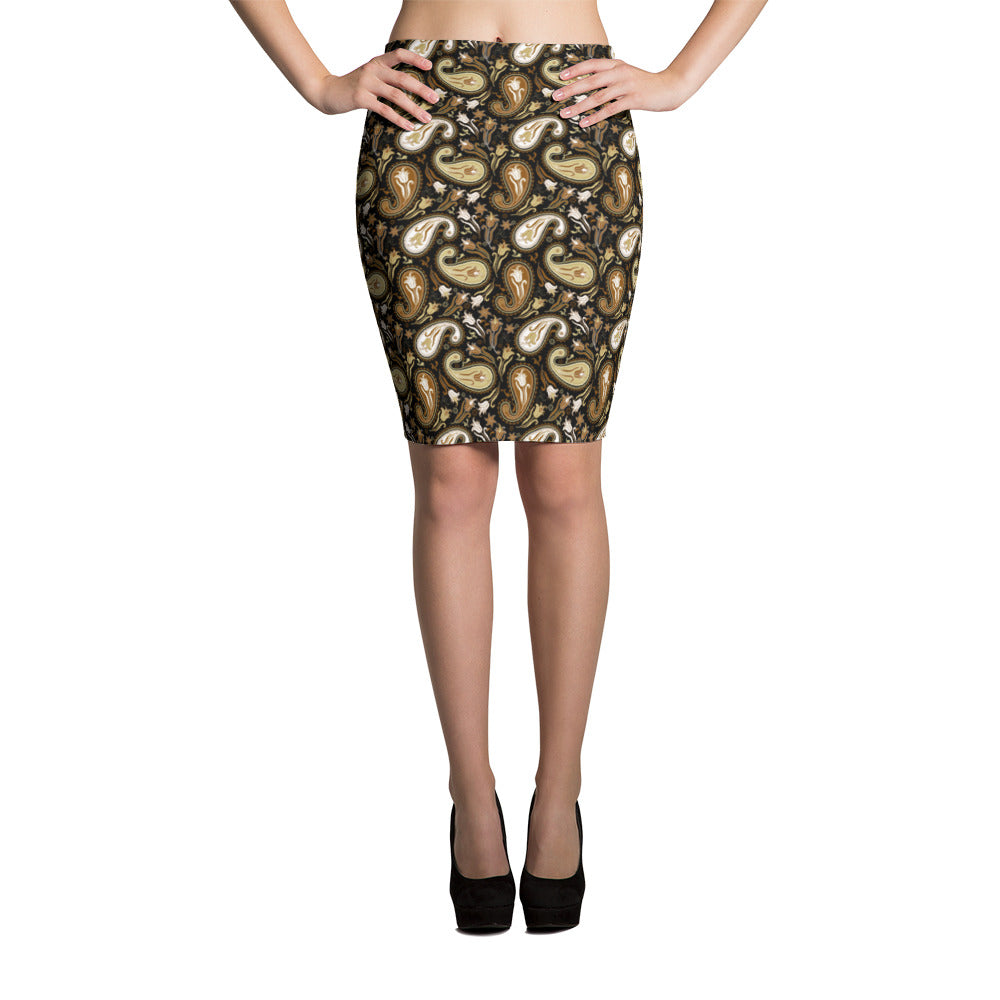 Brown Paisley Womens Pencil Skirt