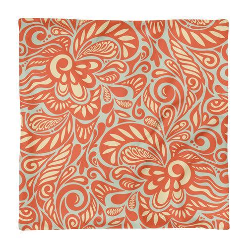 Orange Swirl Square Pillow Case only