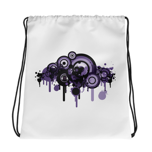 Music Talks Purple Splat Drawstring Bag