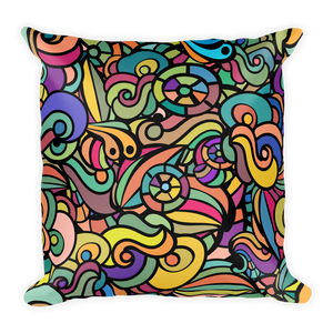 Bright Coloured Swirls on Square Throw Pillow