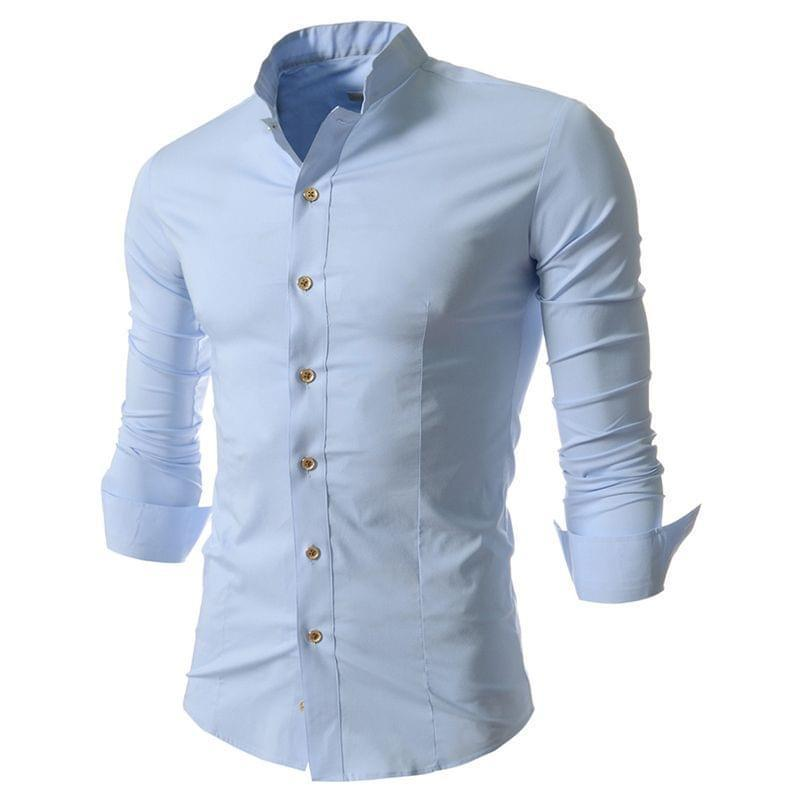 Combo Of 3 Classic Pure Color Mandarin Collar Young Boys Slim Fit Men Shirts