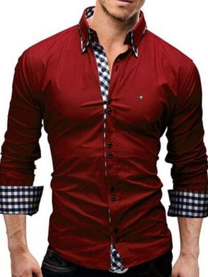 3 Combo Offer Lapel Fine Plaid Printed Slim Fit Men Shirts