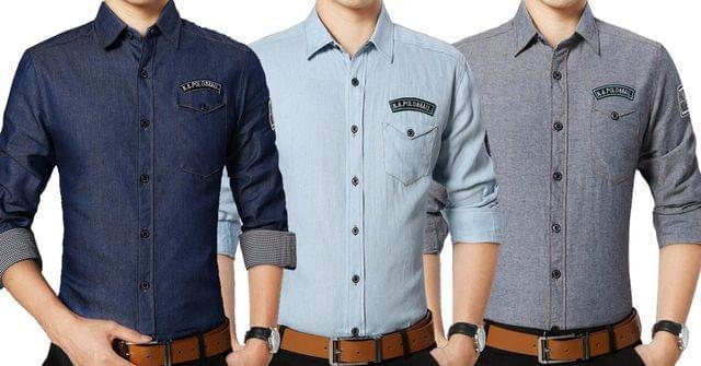 Combo Of 3 New Fashionable Stylish Slim Fit Casual Shirts