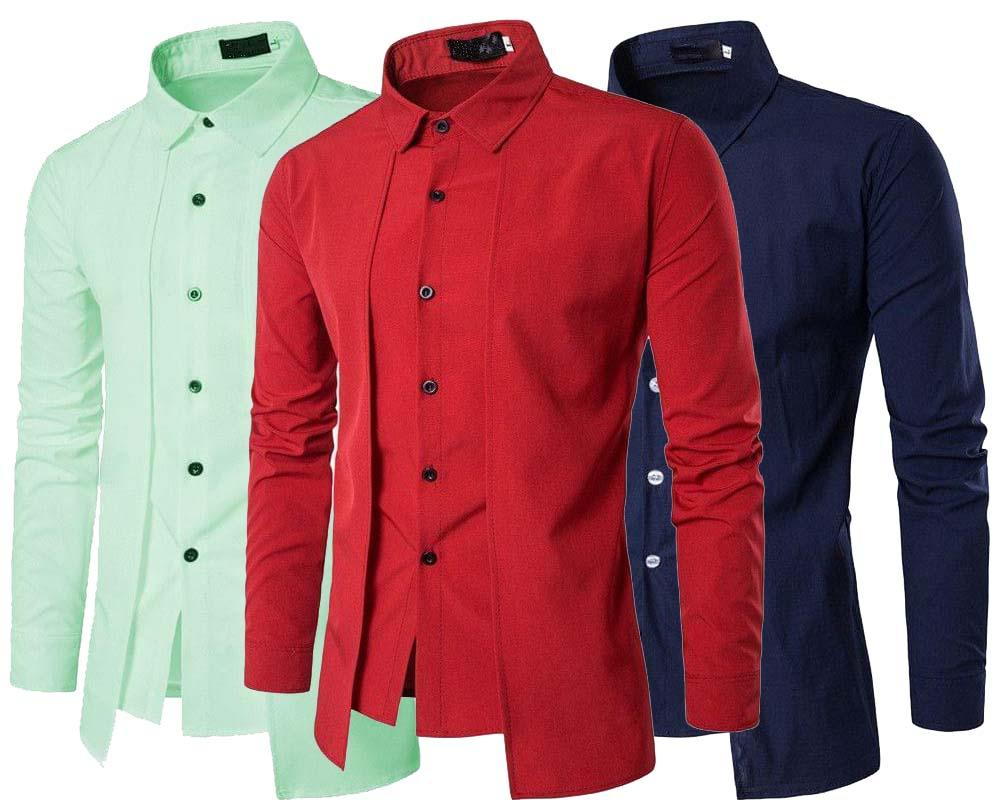 e151debef COMBO OF 3 BRANDED LUXURY STYLISH SLIM FIT WITH LONG SLEEVE TOPS CORRECTIVE  SHIRTS FOR MEN