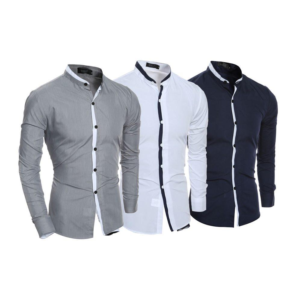 3889a89e5 COMBO OF 3 SMALL PLAID OFFICIAL LONG SLEEVES SLIM FIT SHIRTS FOR MEN