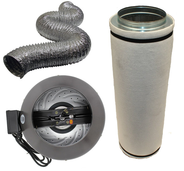 "10"" Inline Fan, Filter, and Duct Package - LumaGro"