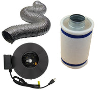 "4"" Inline Fan, Filter, and Duct Package - LumaGro"