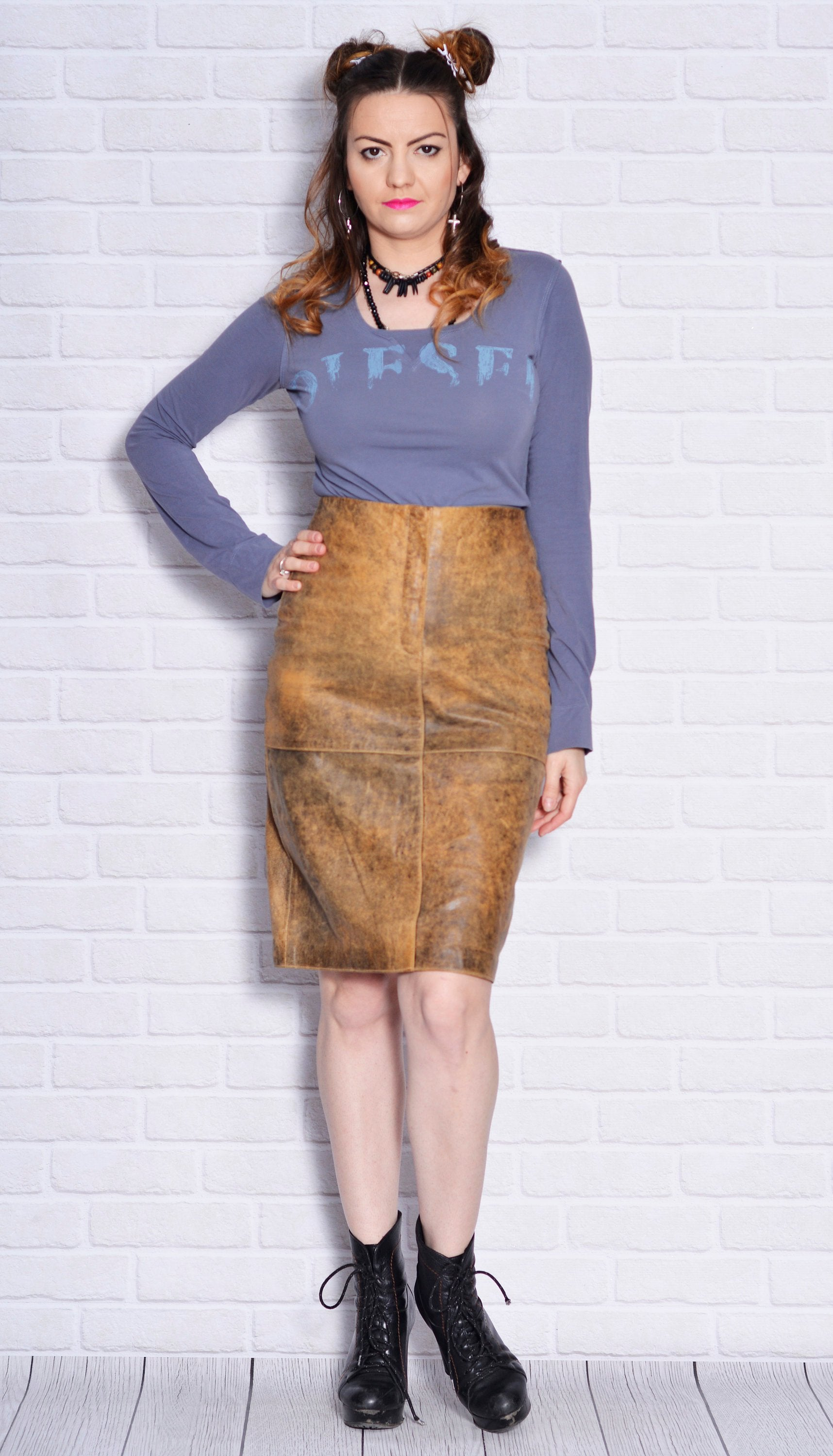 Vintage Wild Child Sheath Leather Skirt - Vintage Clothes