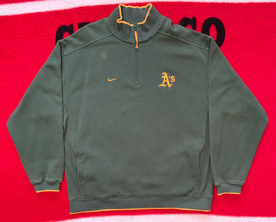 "VINTAGE OAKLAND A'S QUARTER ZIP SWEATER "" THE OFFSEASON"""