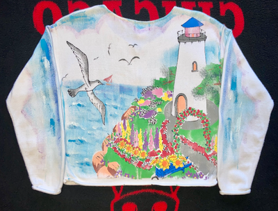 "VINTAGE KOLORWAY CARDIGAN SWEATER "" COASTAL VIEWS"""
