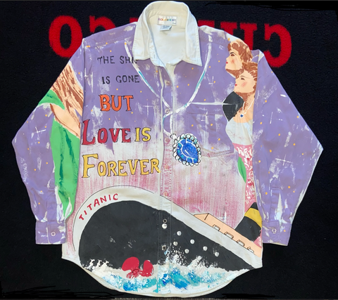 "VINTAGE KOLORWAY L/S TITANIC BUTTON UP ""TRUE LOVE"""