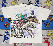 "Vintage 1994 Kentucky Derby All Over Print Tee ""Horses in the stable"""