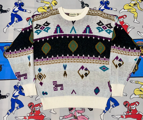 "VINTAGE ST. JOHNS BAY KNITTED SWEATER ""TRIBAL"""