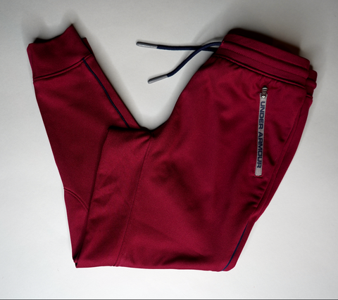 "KIDS UNDER ARMOUR TRACK PANTS ""MAROON MARAUDER """