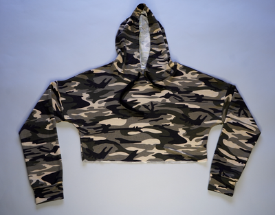 "WOMENS CROPPED CAMO HOODIE ""WILD THOUGHTS"""