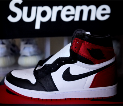 "WOMENS AIR JORDAN 1 ""SATIN BLACK TOE"""