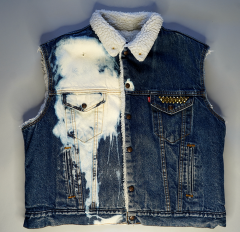 "LEVI STRAUSS DENIM VEST ""BLEACHED TO PERFECTION"""