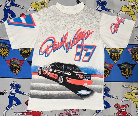 "Vintage Darrell Waltrip All Over Print Tee ""Burn Rubber"""