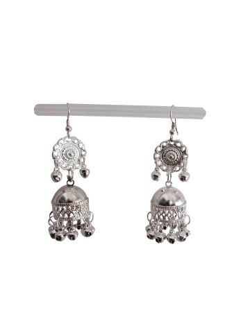 Elegant Indian Traditional Silver Jhumki Earrings Jewellery Pair for Girls & Women