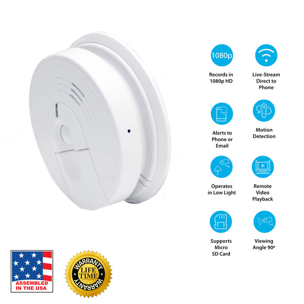 1080p Hardwired Smoke Detector Hidden Wi Fi Camera Flexispy Spy Shop