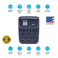1080p 6-Outlet Power Adapter Hidden Wi-Fi Camera